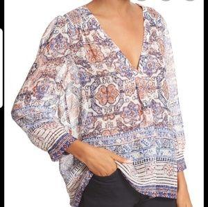 JOIE aceline print  silk sheer 3/4 sleeve blouse